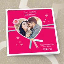 Personalised Girlfriend Heart Ribbon Photo Card - Luxury Fabric Card