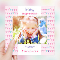 Pink Birthday Bunting Luxury Fabric Photo Card