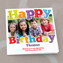Personalised Bright Happy Birthday Luxury Fabric Photo Card