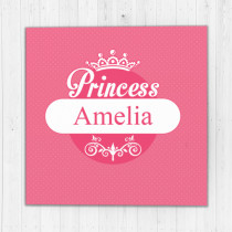 Personalised Pink Princess Luxury Fabric Card