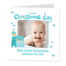 Baby Blue Boys Christening - Luxury Greeting Card