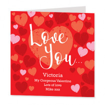 Personalised Love You Card - Luxury Fabric Card