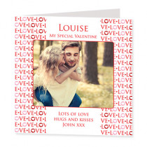Love Love Love Text with Photo Upload - Luxury Greeting Card