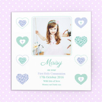 Personalised Heart Communion Design With Photo Upload - Luxury Greeting Card