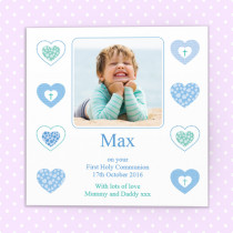 Personalised Male Heart Communion Design With Photo Upload - Luxury Greeting Card