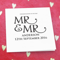 Personalised Mr and Mr Luxury Fabric Card