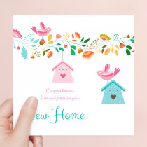 Personalised New Home Birdhouse - Luxury Greeting Card