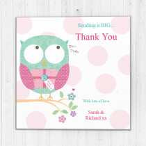 Personalised Owl Thank You - Luxury Greeting Card