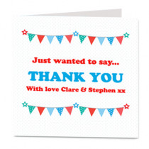 Star and Bunting Blue Fully Editable - Luxury Greeting Card