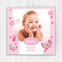 Personalised Pretty Pink Butterfly Luxury Fabric Photo Card