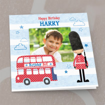 Personalised London Bus Luxury Fabric Photo Card