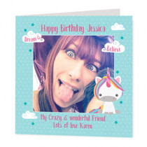 Personalised Dream Believe Unicorn Card With Photo Upload - Luxury Fabric Card