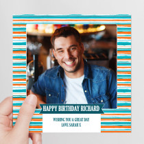 Personalised Stripes Photo Card - Luxury Fabric Card