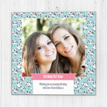 Personalised Cute Panda Pattern - Luxury Fabric Photo Card