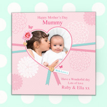 Personalised Heart Ribbon Luxury Fabric Photo Card