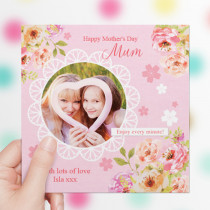 Personalised Watercolour Floral Luxury Fabric Photo Card