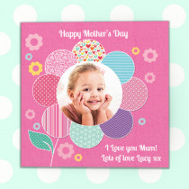 Personalised Pink Flower Luxury Fabric Photo Card