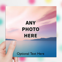 Personalised Photo Card - One Photo With Text Luxury Fabric Card