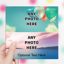 Personalised Photo Card - Two Photos With Text Luxury Fabric Card