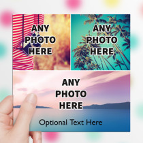 Personalised Photo Card - Three Photos With Text Luxury Fabric Card
