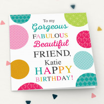 Personalised Gorgeous Friend - Luxury Fabric Card