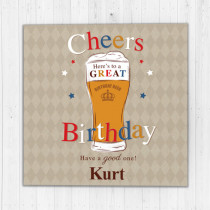 Personalised Cheers Beer - Luxury Fabric Card