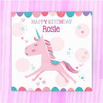 Personalised Happy Birthday Unicorn Card - Luxury Fabric Card