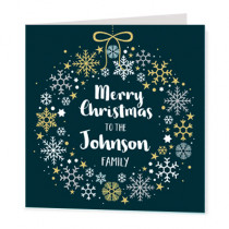Christmas Family Wreath Non Photo - Luxury Greeting Card