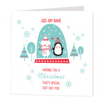 Christmas Snowman And Penguin Non Photo  - Luxury Greeting Card