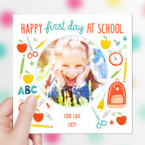 Personalised First Day At School Photo Upload - Luxury Greeting Card