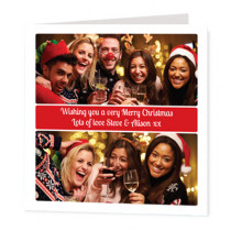 Christmas Text Box With Two Photo Uploads  - Luxury Greeting Card