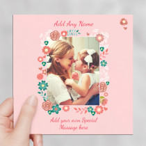 Personalised Floral Frame Luxury Fabric Photo Card
