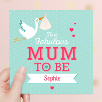 Personalised Mum To Be Luxury Fabric Card