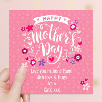 Personalised Mother's Day Bright Pink Luxury Fabric Card