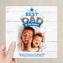 Personalised Best Dad In The World Luxury Fabric Photo Card
