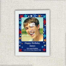 Grunge Star Birthday with Photo Upload - Photo Frame