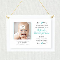 Sentimental Sister & Brother-in-Law Godparents - Personalised Photo Frame