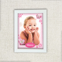 Personalised Pretty Pink Butterfly Photo Frame