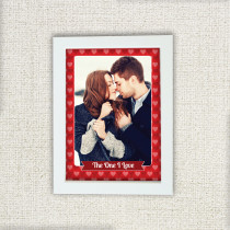 Personalised Red Heart Pattern Photo Frame