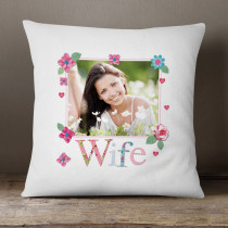 Personalised Fabrique Wife Photo Cushion