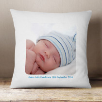 Personalised Blue Text Photo Cushion