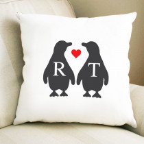 Christmas Initial Penguin - Cushion