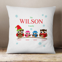 Personalised Owl Family Girl And Boy - Cushion