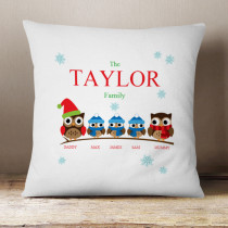 Personalised Owl Family Three Boys - Cushion
