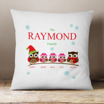 Personalised Owl Family Three Girls - Cushion