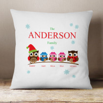 Personalised Owl Family Two Girls One Boy - Cushion