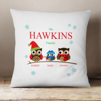 Personalised Owl Family One Boy - Cushion