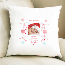 Sentiments First Christmas with Photo Upload - Cushion