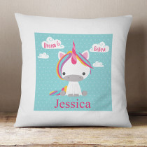 Personalised Dream Believe Unicorn Cushion