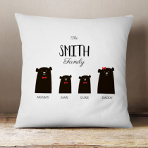 Personalised Bear Family Two Boys - Cushion